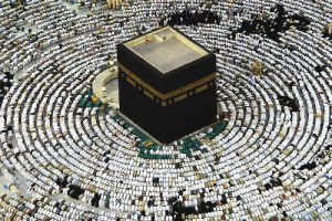 At the height of the cerimonies of the Hajj, Muslims worship in concentric circles, about the Kaaba