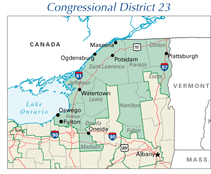 Counties in the New York 23rd Congressional District