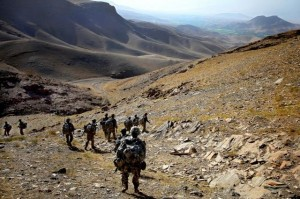 Soldiers travel down a mountain during a patrol near the Tangi Valley in the Wardak province of Afghanistan, Aug. 30, 2009: by Sgt. Teddy Wade