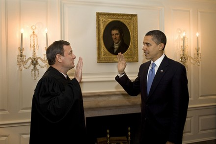 """Chief Justice Roberts """"reswears"""" in Obama, in the Oval Office."""