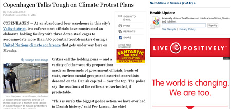 """Ironically, the NYT report appears on a page, wherein an advertisement declares """"The World is Changing! and So are we"""", by Think Positively."""
