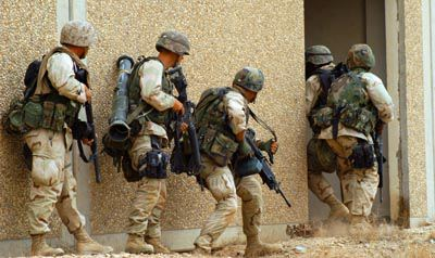 Marines storming house