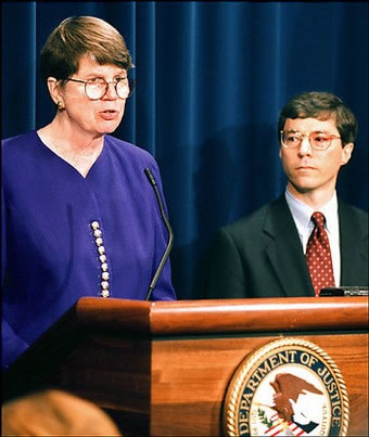David Ogden had served under the Clinton administration: he appears here with Janet Reno, former U.S. Attorney General