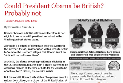Politics.co.uk took pains to rebut a newspaper ad in Washington, D.C., some 8,000 miles away.