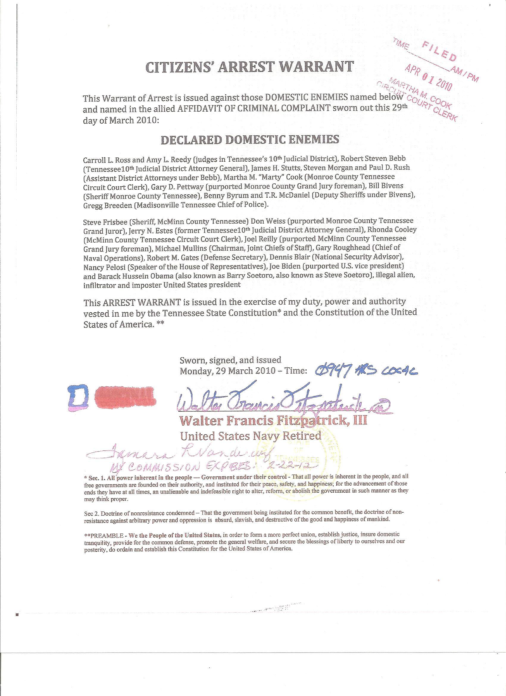 April 1 Arrest Warrant Pettway