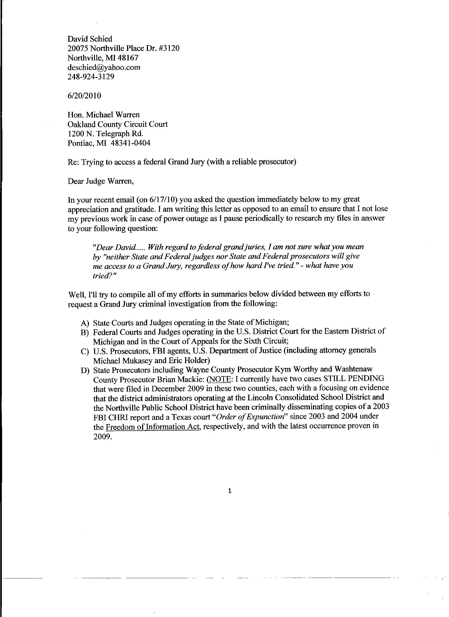 How To Write A Letter Federal Judge