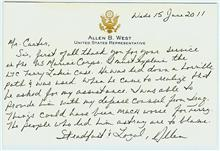 Handwritten card from Allen West