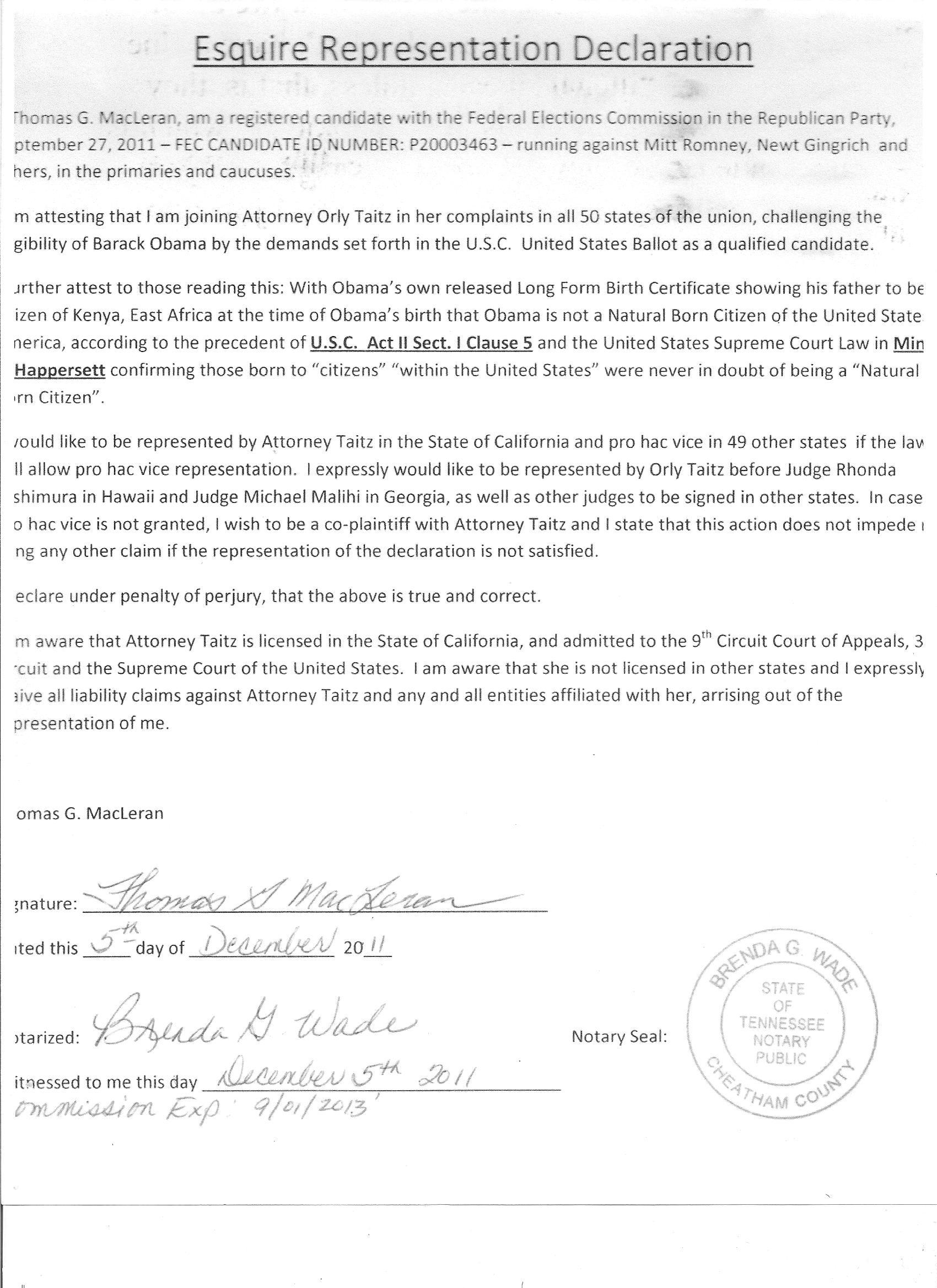 MacLeran Declaration 001