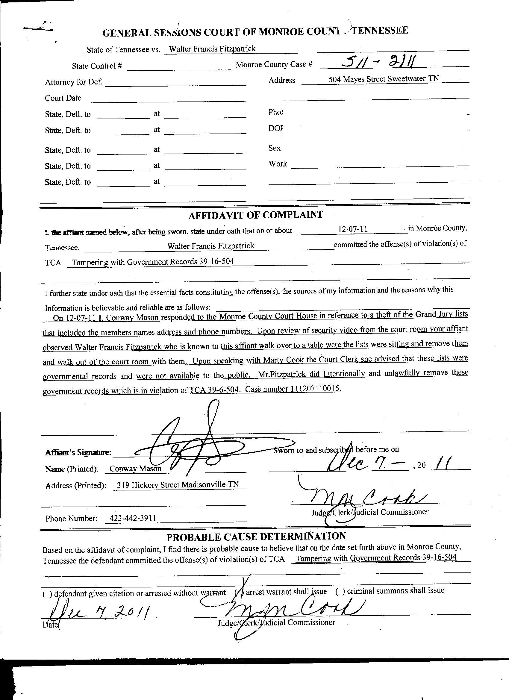 WFF Affidavit of Complaint 001