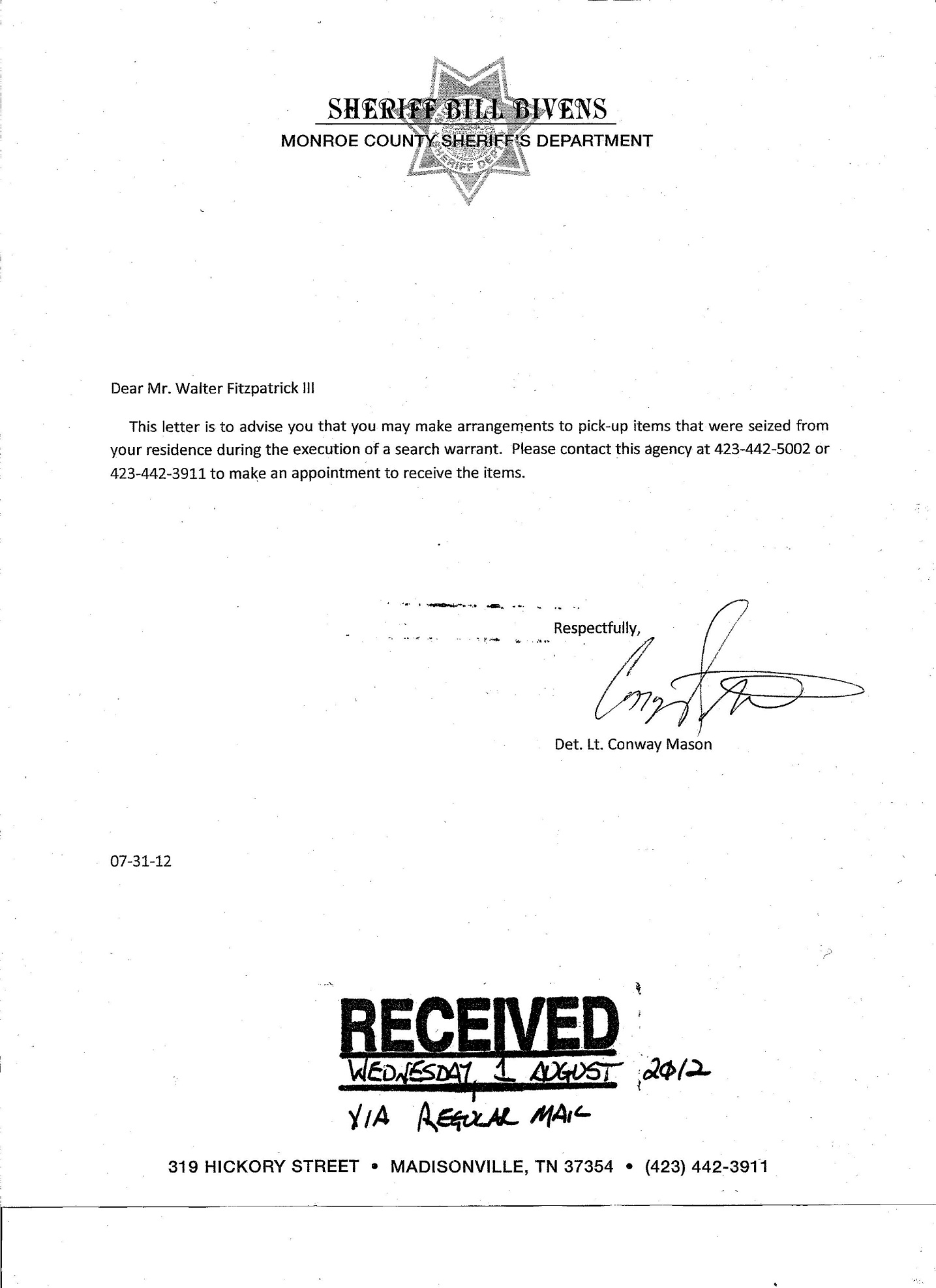 Bill Bivens Equipment Letter bottom