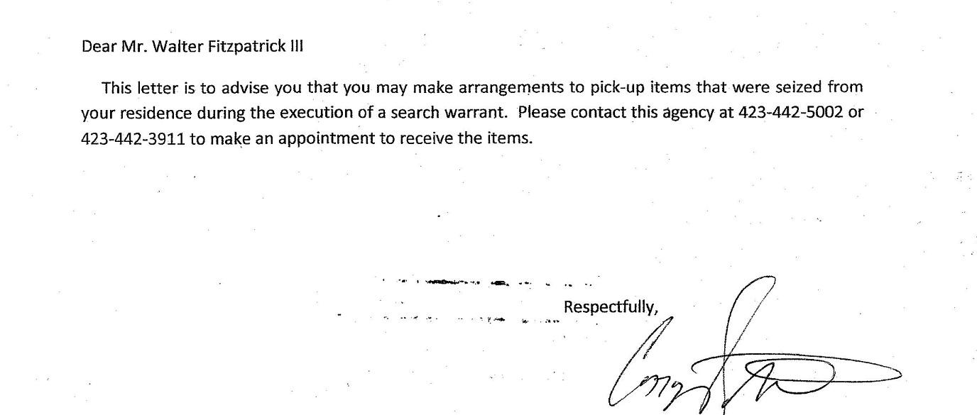 Bill Bivens Equipment Letter bottom