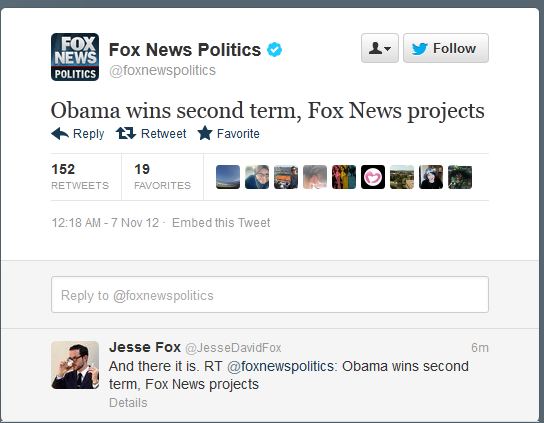 Breaking Report:  Obama Wins Second Term