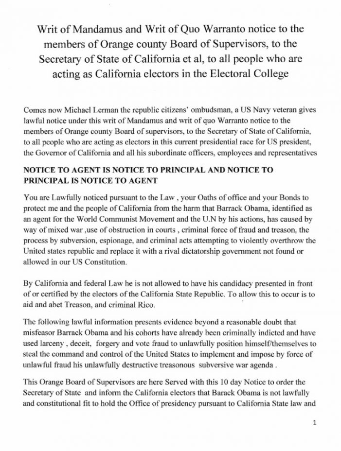 California Resident Demands Investigation into Allegations of Fraud and Treason against Barack Hussein Obama