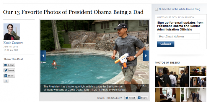 Obama Meets with Newtown Families, then Tweets out Photo of Himself with Gun and Daughter on Fathers' Day pb
