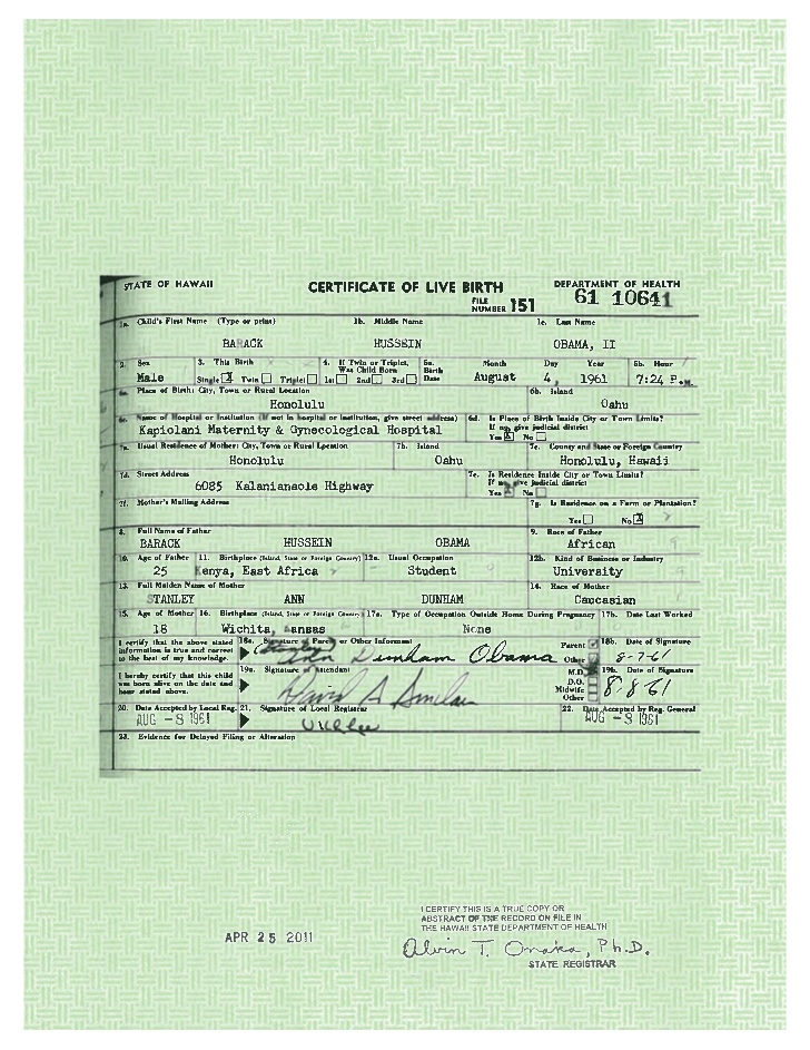 Obama's long-form birth certificate