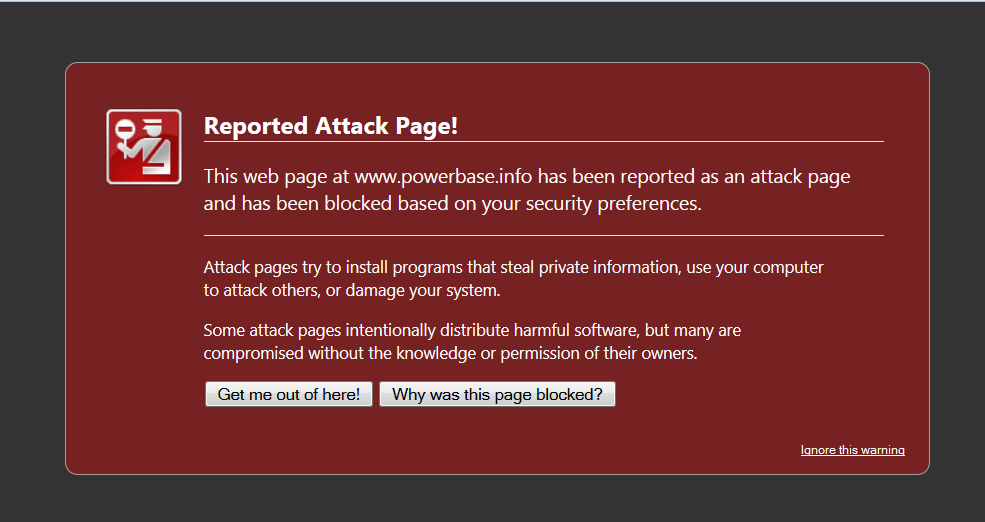 Shrimpton reported attack page