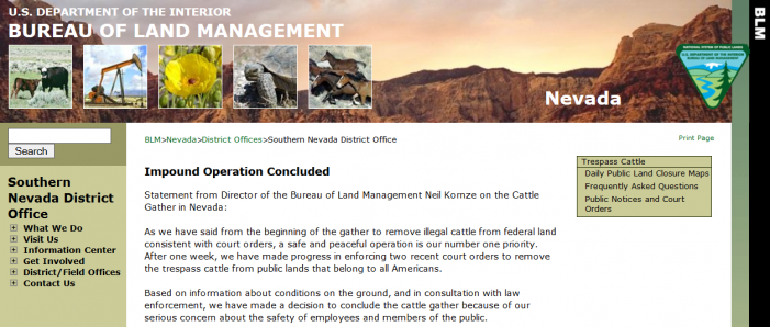 """Breaking:  BLM Will Stop """"Cattle Gather"""" Against Nevada Rancher"""