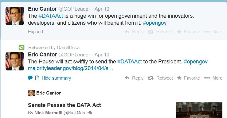 Eric Cantor Data Act Tweet