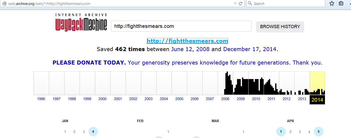 FighttheSmears Wayback Machine 12-19-14