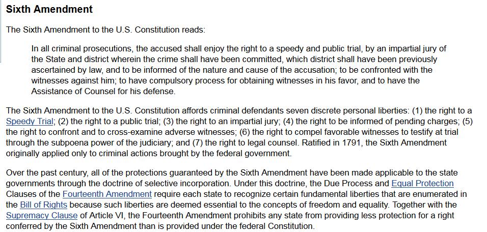 Sixth Amendment screenshot