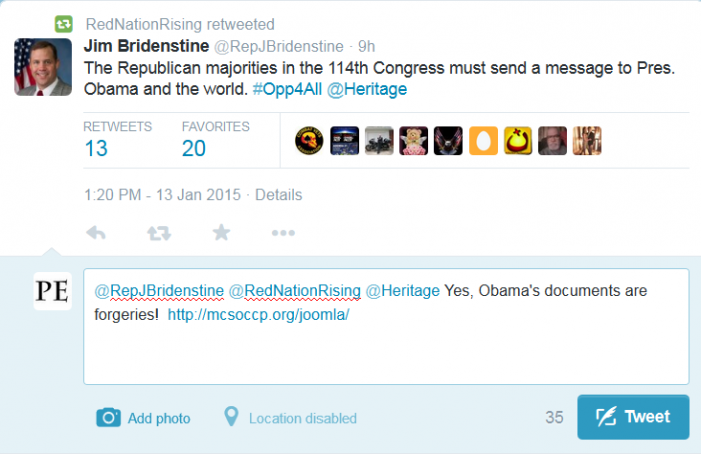 """Congressman Says Message Should be Sent """"to Obama and the World"""""""