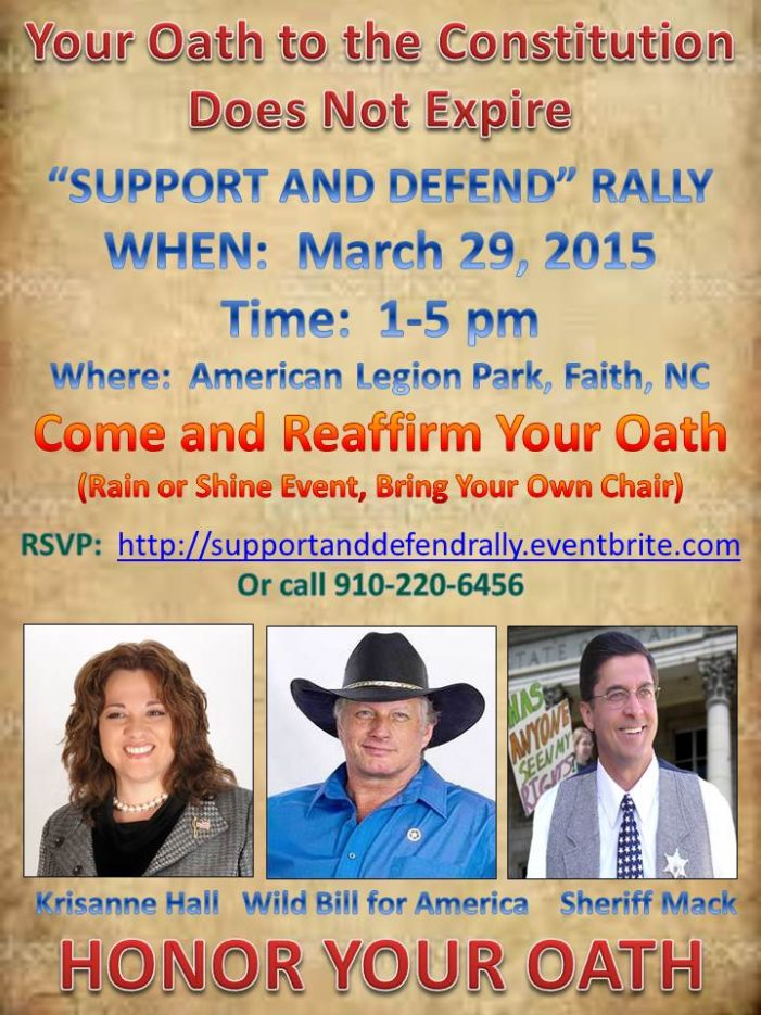 "North Carolina Oathkeepers Hosting ""Support and Defend"" Rally March 29"