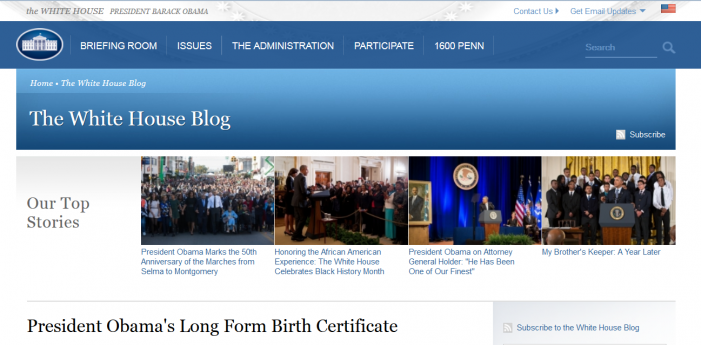 Whitehouse.gov Birth Certificate Forgery Page Updated