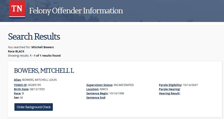 Mitchell Bowers TDOC registration