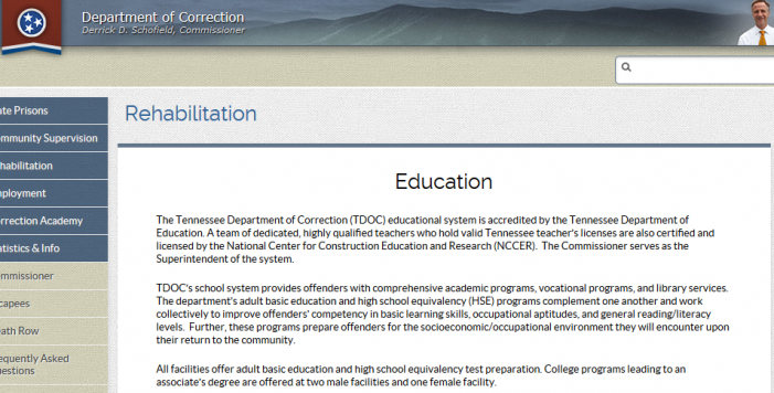 Bombshell Exclusive:  TDOC Employees Violate Departmental Rules to Keep Inmates in Adult Basic Education Class