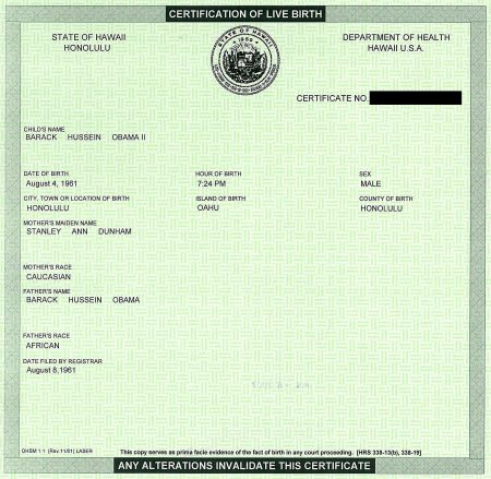 hawaii and certificate of live birth