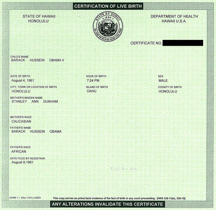 Obama Certification of Live Birth:  Who is Lying, and Who is Telling the Truth?