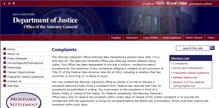 Reader Receives Response to Presidential Eligibility Complaint from NH Attorney General's Office