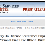 House Armed Services Committee Statement on Defense Secretary's Use of Personal Email for Official Business