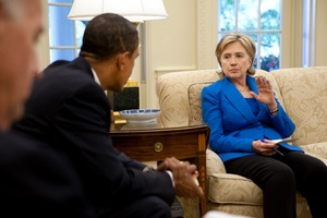 Hillary Clinton and Obama at White House