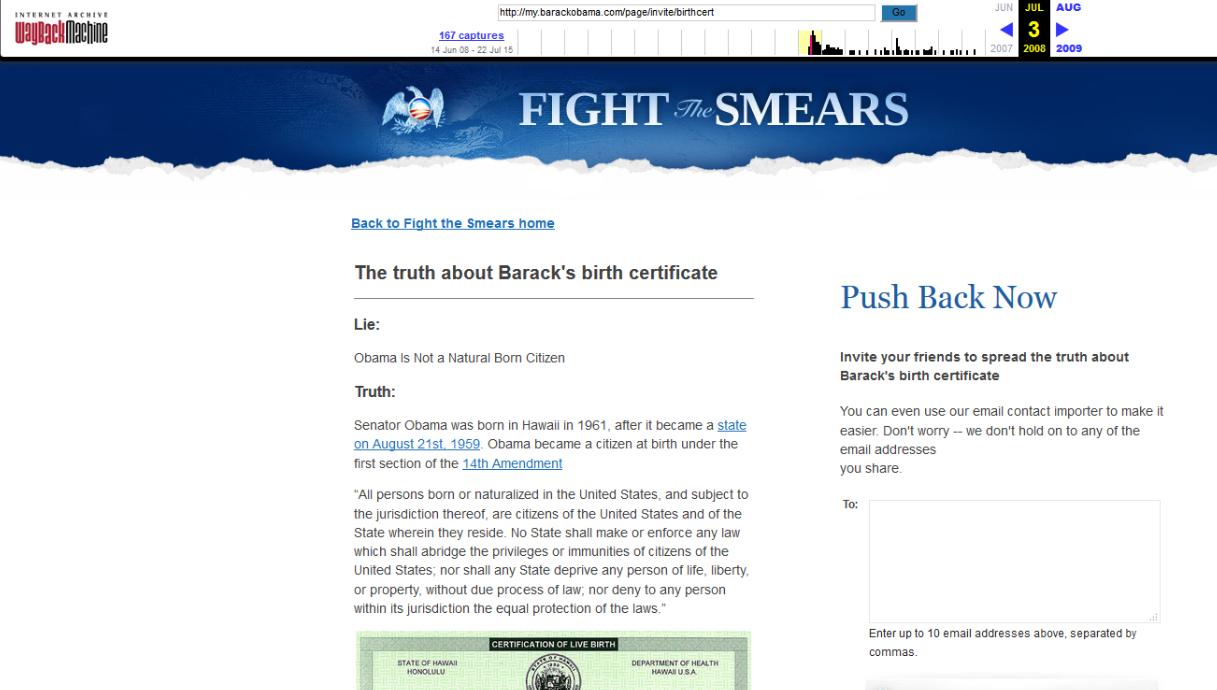 Wayback Machine FighttheSmears Obama 14th Amendment