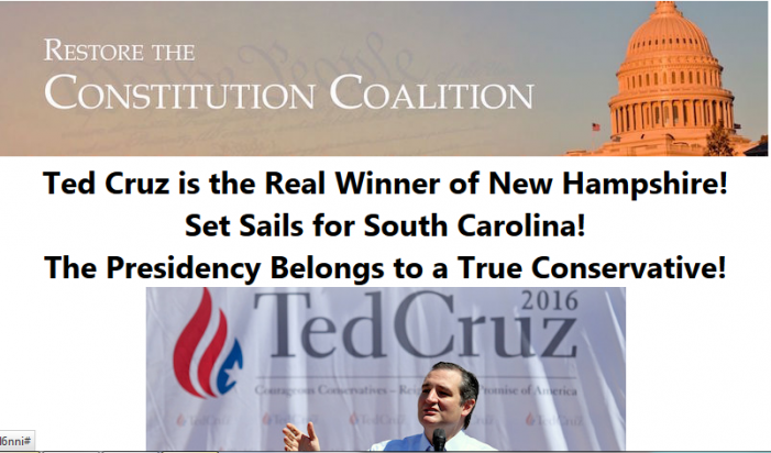 PAC Supportive of Cruz Reports He Won New Hampshire Primary