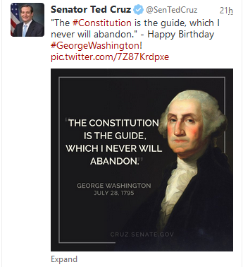 Cruz tweet Washington birthday from website