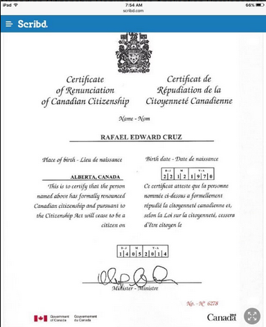 Cruz Canadian citizenship renunciation confirmation