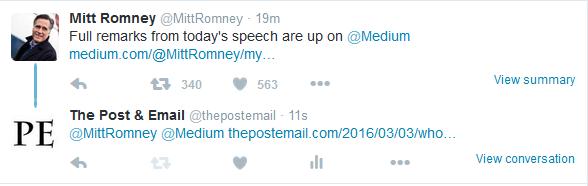Romney tweet return tweet