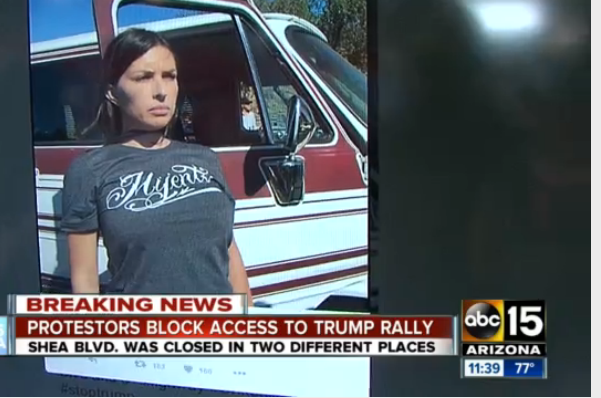 Protesters Chain Themselves to Their Cars to Block Road to Trump Rally