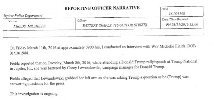 Fields/Lewandowski Complete Police Report Released to the Press