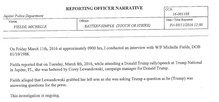 Fields police report snip
