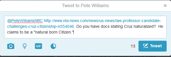 Tweet to Pete Williams NBC News 04-12-16