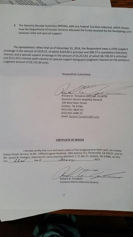 Cliff Rockholdt Child suppor letter