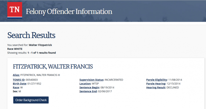 "Tennessee Prison Confirms Walter Fitzpatrick ""Still Here"""