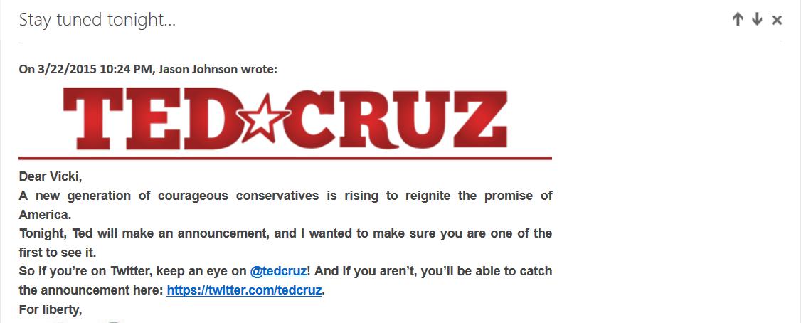 Ted Cruz campaign screenshot