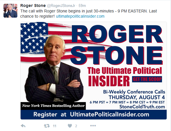 Exclusive:  Flashback:  Roger Stone Talks WikiLeaks, Russia, Clinton Emails