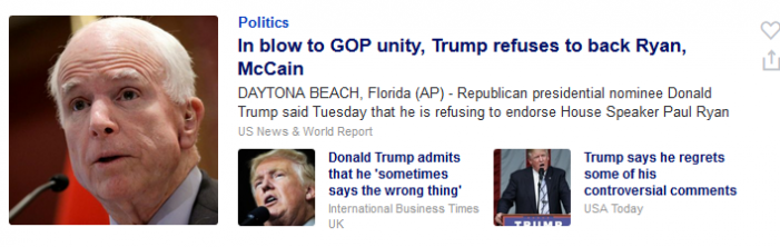 Why is a Weeks-Old Trump Story on the Front Page of Yahoo! News?