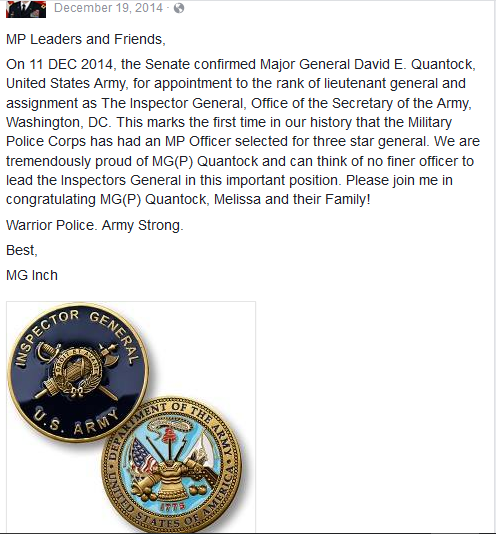 Quantock announcement of promotion to IG