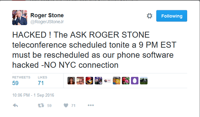 "Roger Stone Biweekly Telephone Conference ""Hacked"""